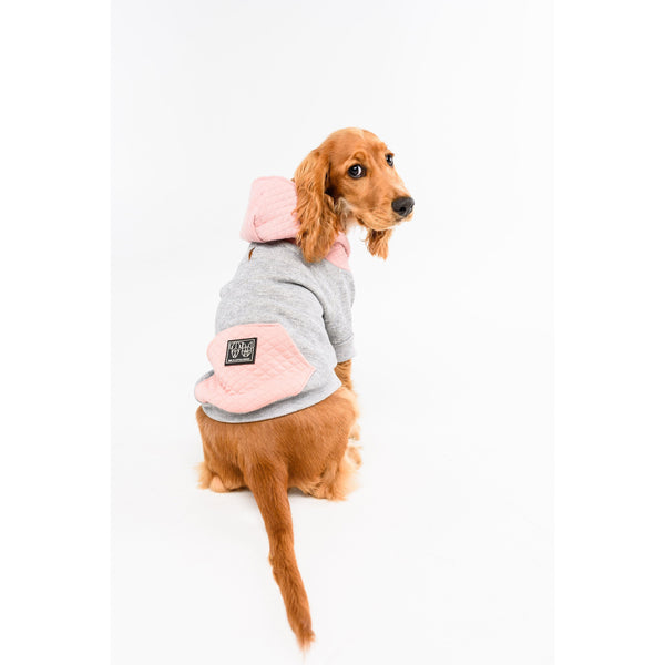 Dog Hoody Jumper for Big and Little Dogs Quilted Navy Pink and Grey