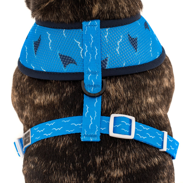Reversible Dog Harness Neoprene and Mesh Fintastic Sharks Shark Fins Water