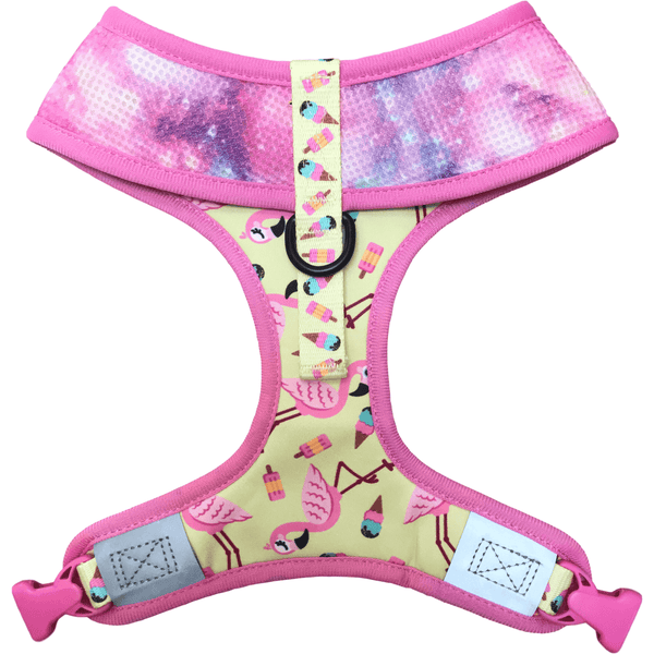 Reversible Dog Harness for Big and Small Dogs Flamingos Ice Creams and Galaxy Stars