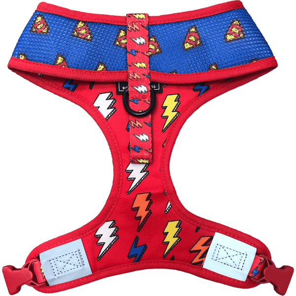Reversible Dog Harness for Big and Small Dogs Lightning Bolts Super Dog