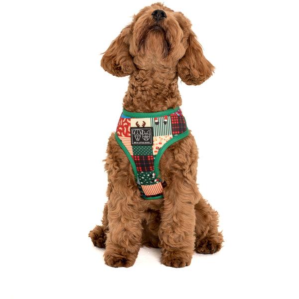 Reversible Dog Harness Silly Season Christmas New Years Quilt Champagne Celebrate