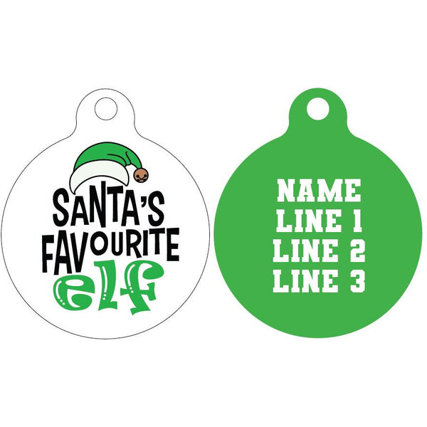 Standard Pet ID Tag | Santa's favourite Elf (green)