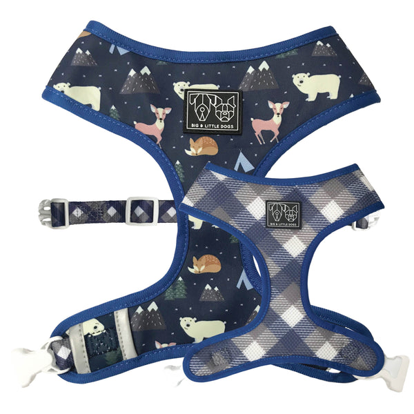 Reversible Dog Harness for Big and Small Dogs Scandi Forest Grandpa Plaid