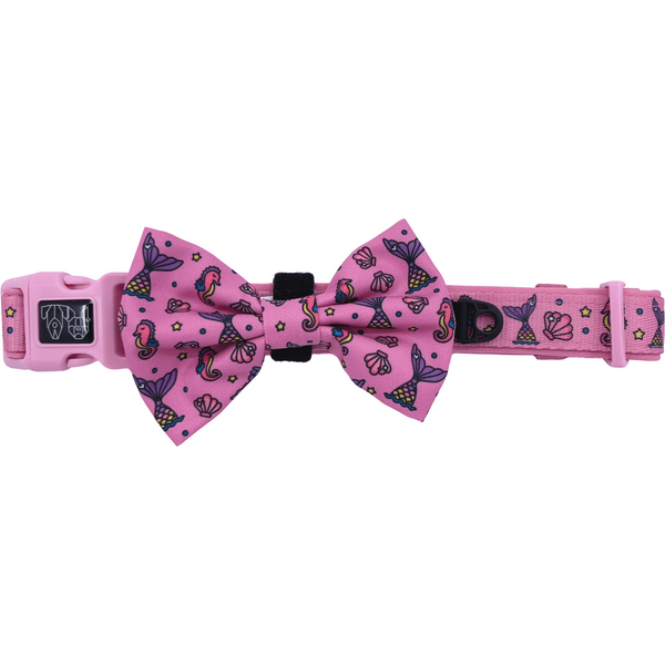 Sea Life Mermaid Comfort Dog Collar with Detachable Bow Tie