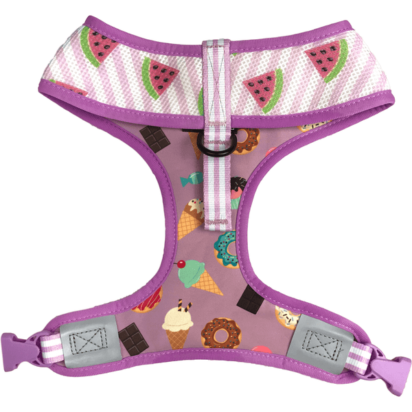 Dessert and Watermelon Reversible Dog Harness Reverse Neck View