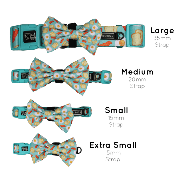 Sunny Side Up Bacon and Eggs Dog Collar and Bowtie Sizing