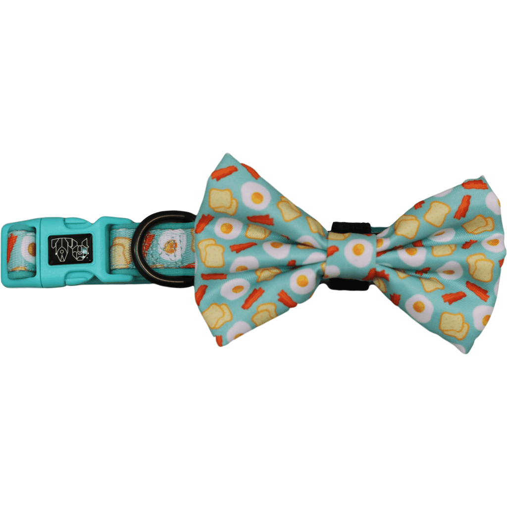 Sunny Side Up Bacon and Eggs Dog Collar and Bowtie
