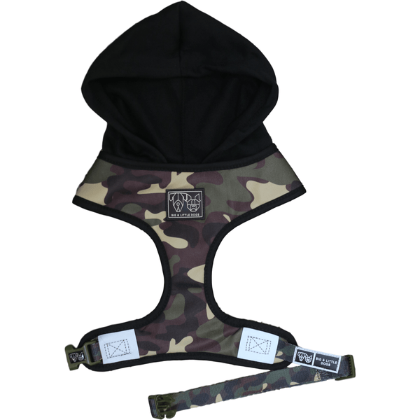 The General Camouflage Dog Hoody Harness Front View