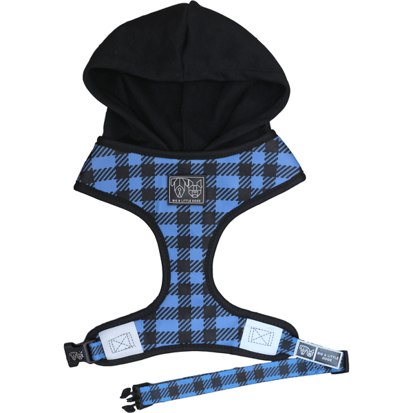 The Jack Blue Plaid Dog Hoody Harness Front View