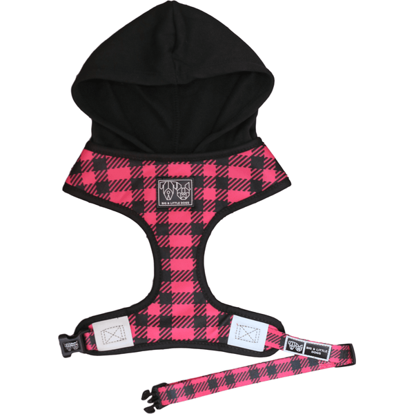 The Jill Pink Plaid Dog Hoody Harness Front View