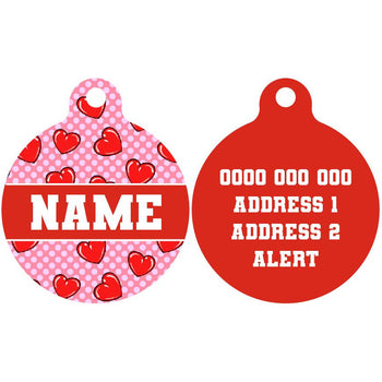 Pet ID Tag | Valentines Day Hearts