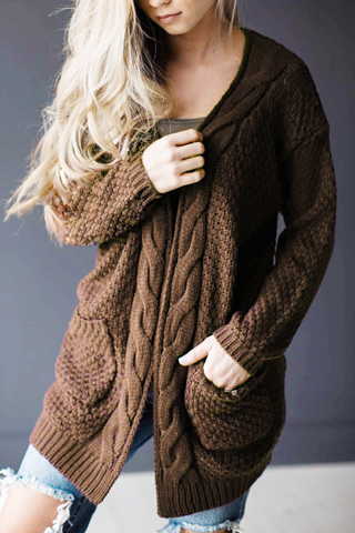 Poppoly Knitted Coat with Pockets Cardigan