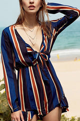 Poppoly Tie-Front Striped Romper