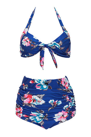 Poppoly In Floral Print Blue Two-piece Swimsuit