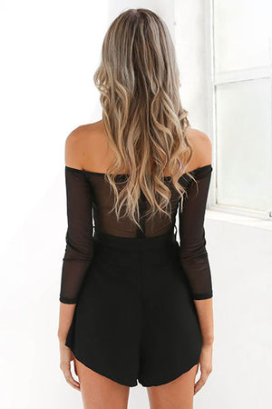 Poppoly Someone Like Me Embroidery Black Romper