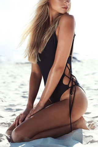 Poppoly See Side Lace-up Black Swimsuit