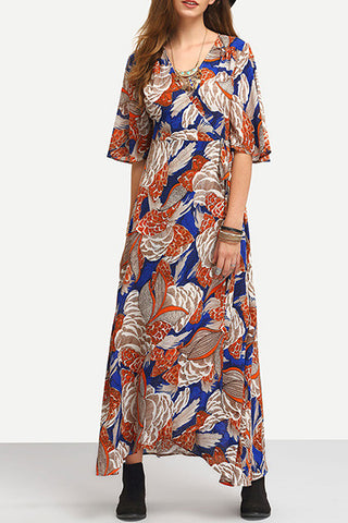 Poppoly  Cotton Bohemian V Neck Long Sleeve A Line Ankle Length Dresses