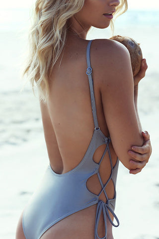 Poppoly Everything You Need Lace-up One-piece Swimsuit