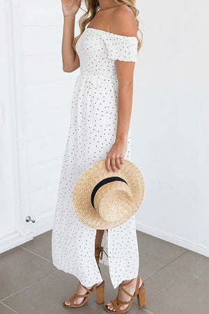 Poppoly Be An Optimist Dots Print Maxi Dress