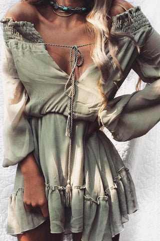 Poppoly But Cool Off Shoulder Chiffon Mini Dress