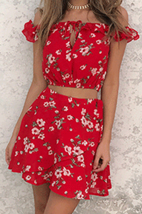 Poppoly Fresh Flower Red Chiffon Two-piece Outfits