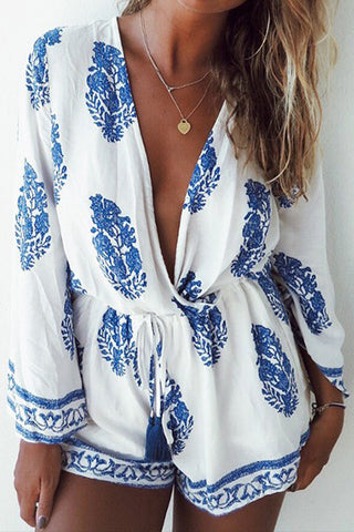 Poppoly Feather Print Shorts White Romper