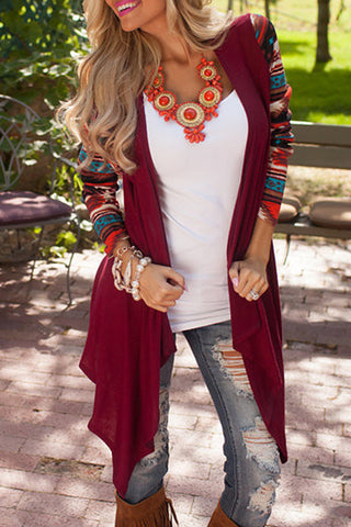 Poppoly Choose Print Knitting Long Cardigan
