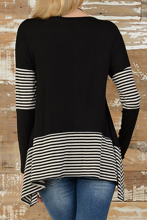 Poppoly To Be Adored Irregular Striped T-shirt