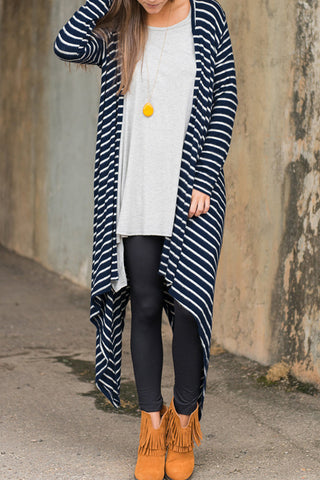 Poppoly  Beauty lightweight Stripe Long Cardigan