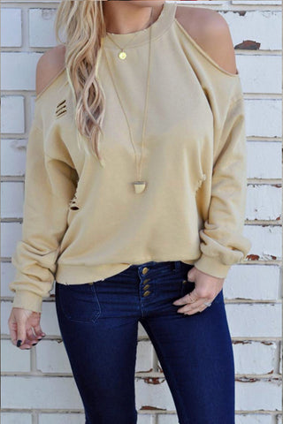 Poppoly Trendy Round Neck Hollow-out   Hoodie