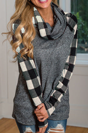 Poppoly Sincerely Yours Plaid Detailed Cowl Neck Top