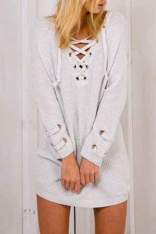 Poppoly Pick Lace-up Long Sleeves Sweater