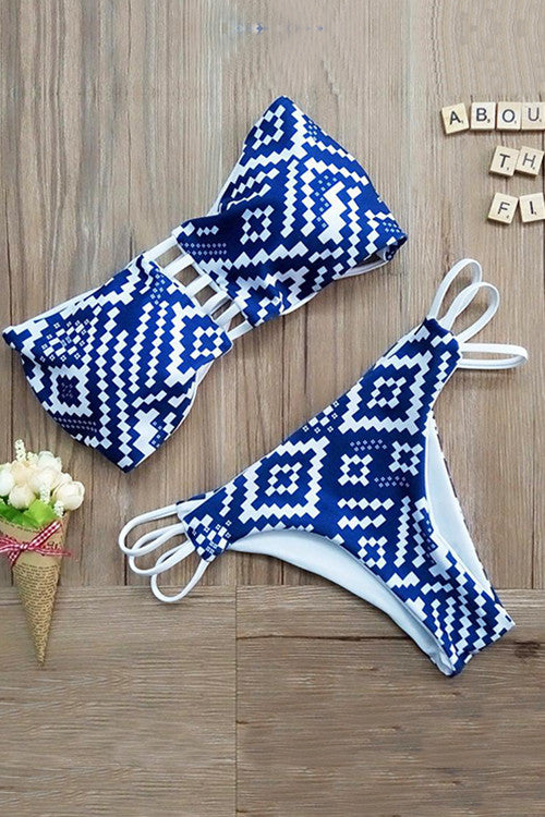 Poppoly Navy Blue Diamond Print Bikini Sets