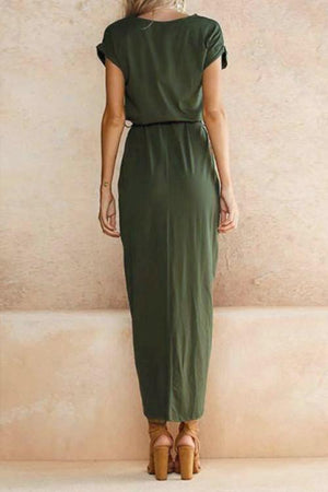 Poppoly After Midnight Green Casual Maxi Dress