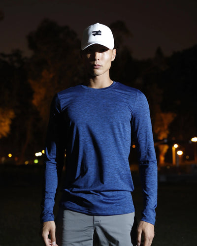 PERFORMANCE LONG SLEEVED TEE IN MIDNIGHT BLUE