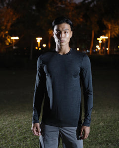 PERFORMANCE LONG SLEEVED TEE IN BLACK OLIVE