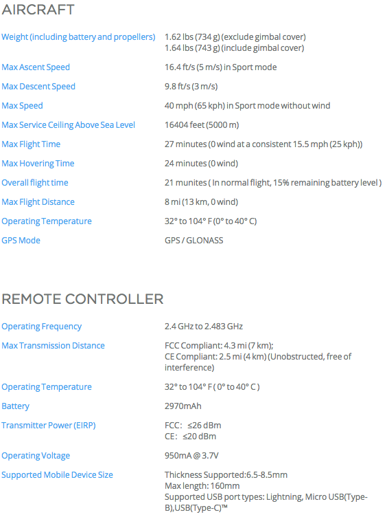 Action Gear Australia - DJI Mavic Specs