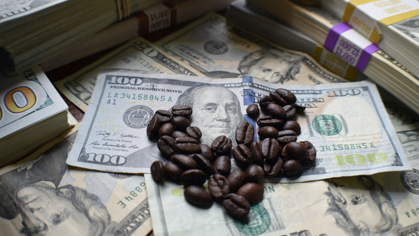 coffee beans and money