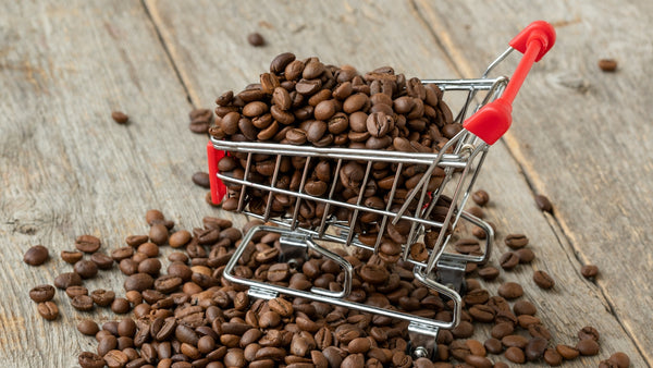 supermarket trolley filled with coffee beans