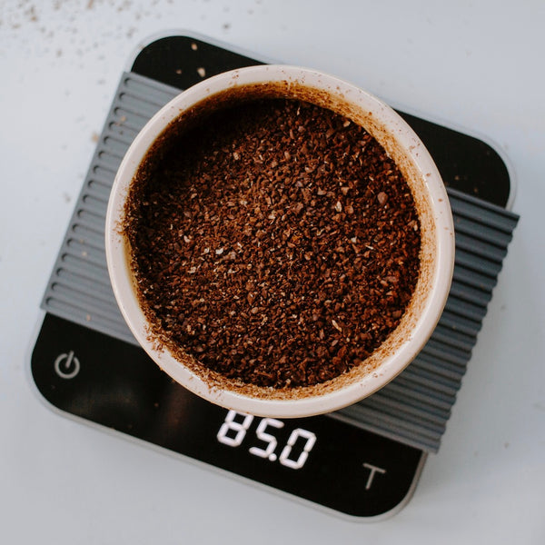 coffee on a scale