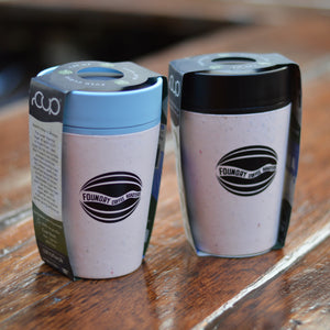 FCR reusable cups, one with light blue llid, one with black lid