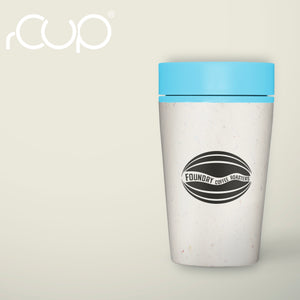 FCR reusable cup, light blue lid and printed with FCR logo