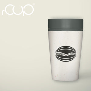 FCR reusable cup with black lid, printed with FCR logo