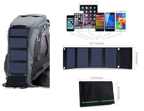 23% HIGH EFFICIENCY FOLDING SOLAR CHARGER MULTI-PLUG