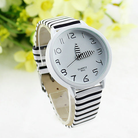 Women Stripes Strap Watches New 2015 Color Round Case Casual Wrist Watch Watches New Design 5DHF 6XZA