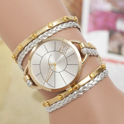 BRACELET LEATHER WEAVE WRAP WATCH