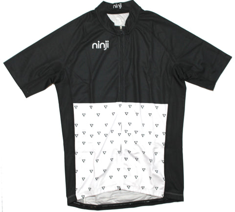 WOMENS SS JERSEY - BLACK WHITE FLOWER