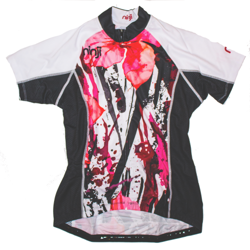 WOMENS SS JERSEY - PINK GREY FLOWER