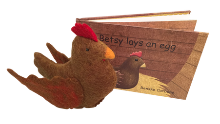 Betsy the chicken book and felt toy