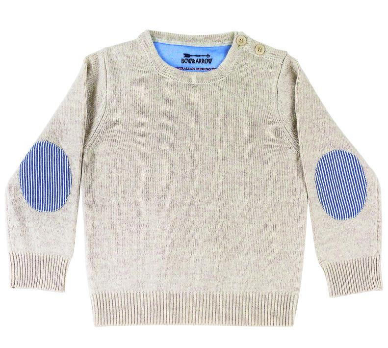 Bow & Arrow - Oatmeal Freddie Unisex Jumper with Blue/White Patches